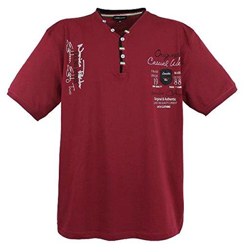 Lavecchia Herren T-Shirt mit Y-Ausschnitt in Übergröße Casual Wear von Aus Reiner Baumwolle in Bordeaux von 3XL bis 8XL