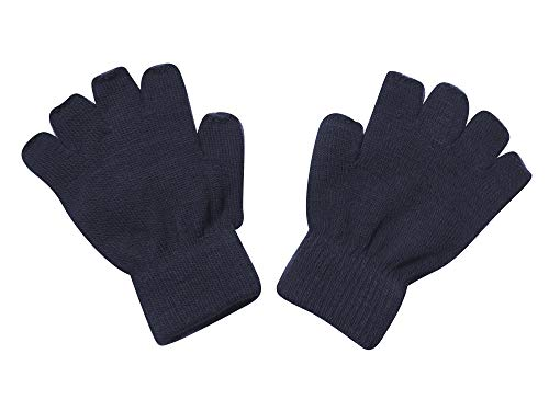 Knit Unisex Glove - Gravity Threads Unisex Warm Half Finger Stretchy Knit Gloves, Kids Navy