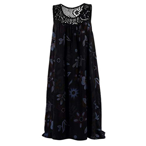 (Botrong Summer Dresses for Women Round Neck Sleeveless Boho Dress Lace Printed Loose Dress (Black,XXXL))