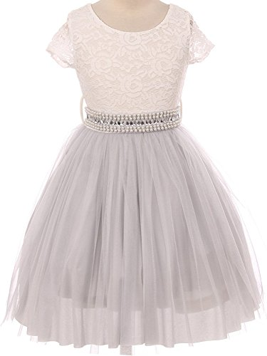 Flower Girl Dress Two-Tone Lace See Through Cap Sleeve for Big Girl Silver 6 JK20.45S