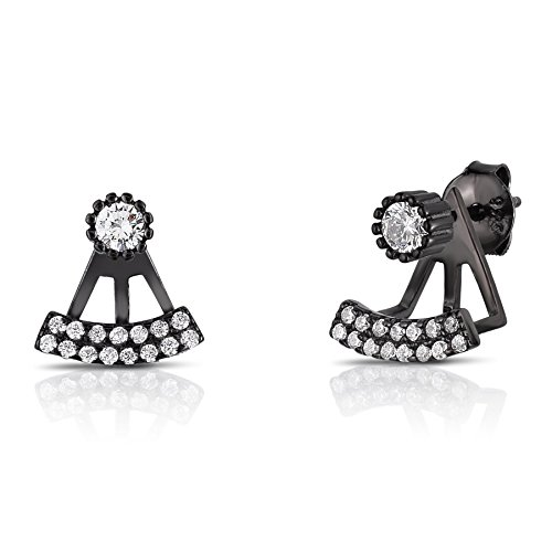 Sterling Silver 2 Rows Mini Front Back 2 in 1 CZ Stud and Ear Jacket Earrings Set(Black Rhodium Plated)