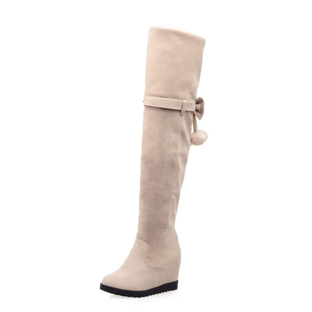 HY Damen Hohe Stiefel Wildleder Herbst/Winter Plus Kaschmir Overknee Stiefel/Ladies Inside Erhöhen Große Schneeschuhe Stiefel (Farbe : B, Größe : 39)