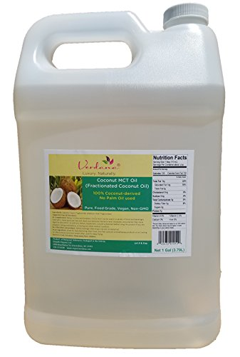Organic Verdana Coconut MCT Oil – aka Fractionated Coconut Oil - 1 Gallon -– 100% from Coconuts – No Palm oil involved - Premium Food Grade - Pure, True MCT with only C8 and C10, No C12 (Oil 1 Weight Gallon)