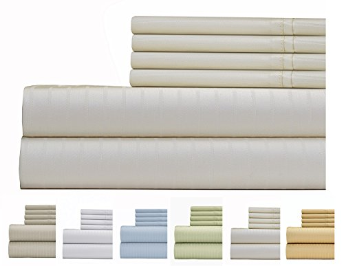 (Weavely Sheet Set - 700 Thread Count Cotton-Poly Blend Bed Sheet, Pin Stripe 6 Piece Bedding Sheet Set, Hotel Quality Sheet Set with 2 Bonus Pillow Cases, Deep Pocket Fitted Sheet -Full-Ivory)