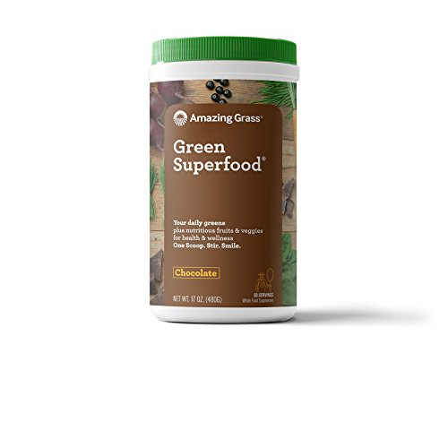 Amazing Grass Green Superfood, Chocolate, Powder, 60 Servings, 17oz, Wheat Grass, Spirulina, Alfalfa, Acai, Maca, Flax Seed, Detox, Active Cultures, Vitamin K, Greens, (Amazing Adult Stores)