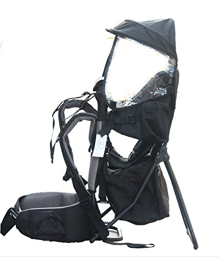 2a1057c98d2 Baby Toddler Hiking Backpack Carrier w Stand Child Kid Sunshade Shield  (Black)  Amazon.co.uk  Luggage