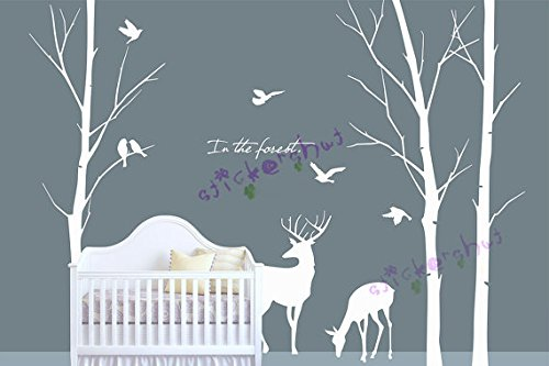 Amazoncom Deer Tree Decal Tree Deer Wall Decal Wall Vinyl Deer - Wall decals nursery
