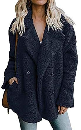 Jotebriyo Women's Warm Loose Double Breasted Fuzzy Plus