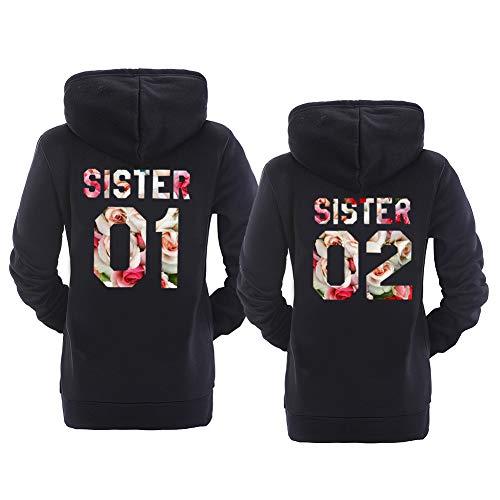 Best Friend Hoodies BFF Hoodies Matching Couple Hoodies for Teen Girls Sister (Black-Flower, 01-XL+02-XL)