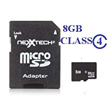 NeXXtech 8 GB Micro SD Secure Digital Card (Class 4) w/ Adapter