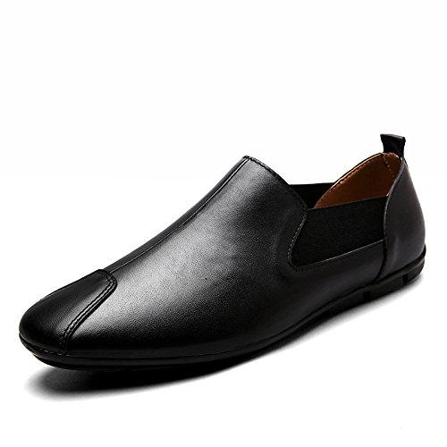 WLFHM Frühlings- und Herbstmänner Erbsen Treibende Schuhe Leder Lässig Atmungsaktiv Schuhe Black