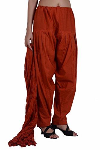 Jaipur Kala Kendra Women's Cotton Patiala Salwar Set Pants With Dupatta Stole Medium (Rust Salwar)