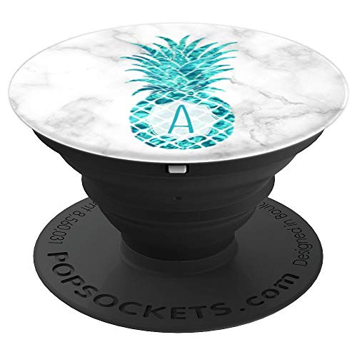 Teal Pineapple A PopSocket Summer Monogram Initial Letter A - PopSockets Grip and Stand for Phones and Tablets ()