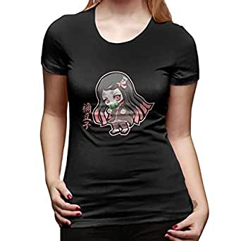 UXUEYING Chibi Kamado Nezuko Demon Slayer Kimetsu No Yaiba T-Shirt Blouses Women Short Sleeve Tops Black