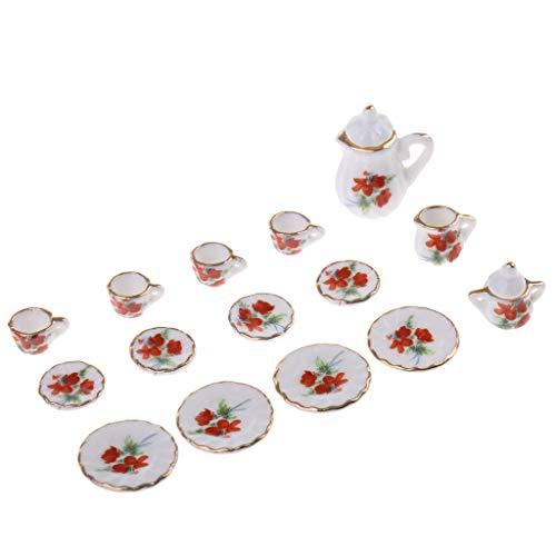 NATFUR 15 Dollhouse Miniature Dining Ware Iris Flower Ceramic Tea Set Pot Cup Plate ()