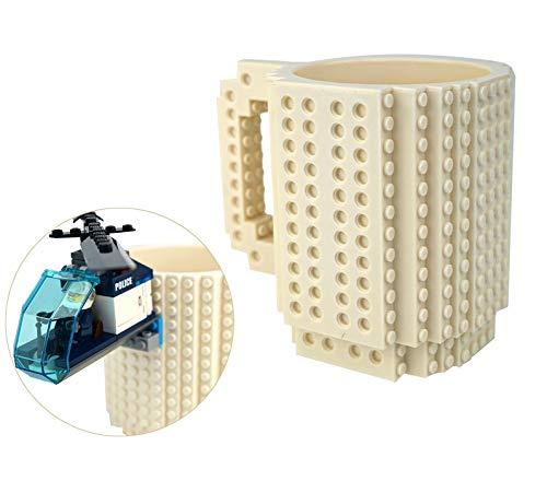OSOPOLA Build-On Brick Mug Coffee Cup DIY Type Plastic Creative Building Blocks Coffee Tea Beverage Drinking Funny Gift(12oz White Mug)