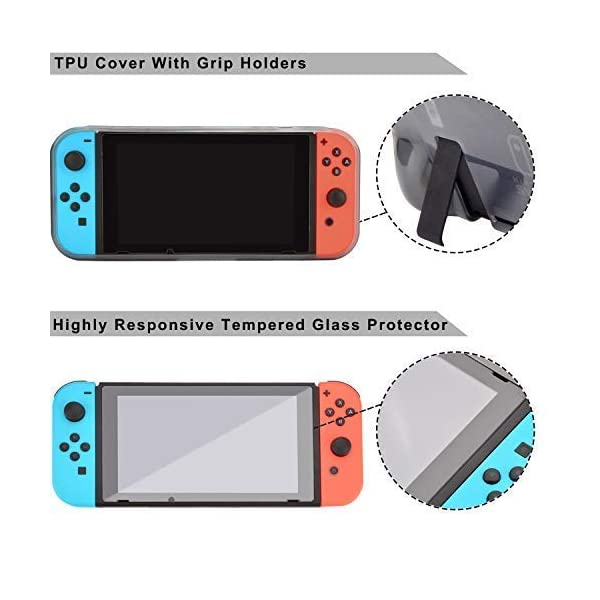 Accessories Kit for Nintendo Switch Games Bundle Wheel Grip Caps Carrying Case Screen Protector Controller 5