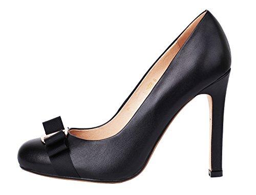 Verocara Women's High Heel Decoration Bow Almond Toe Genuine Leather Evening Dress Pumps Black 7 B(M) US
