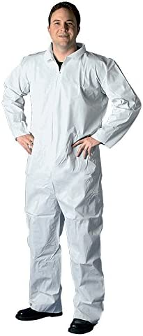 Non-Hooded SMS Disposable Coverall Buffalo Industries 68532 Size XXXXL,White