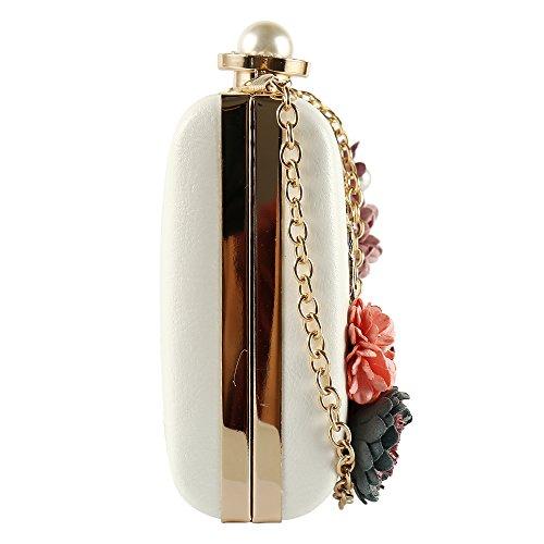Main de Handbag Satin Chic Wallet Perles Fete Sac Blanc Mariage de Elégant Cérémonie avec Bandouliere Soirée Chaînes Pochette Bal Féminin Portefeuille Fleur Pour O5tIwO