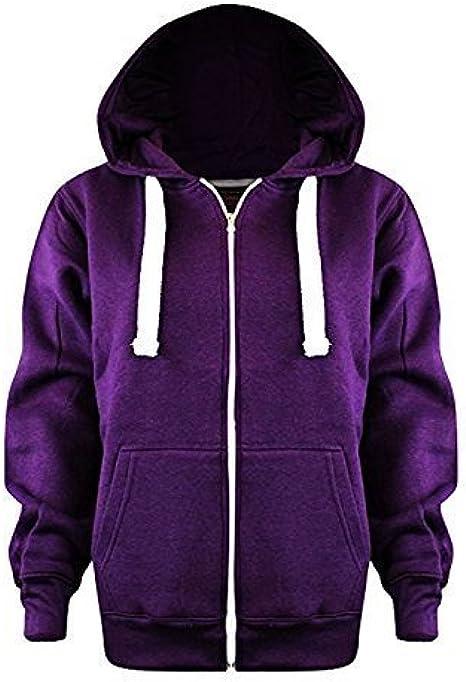 FASHIONCHIC Ladies Womens Plus Size Plain Zip Hoodie UK Size 8 28 (UK Size 4XL20, Purple)