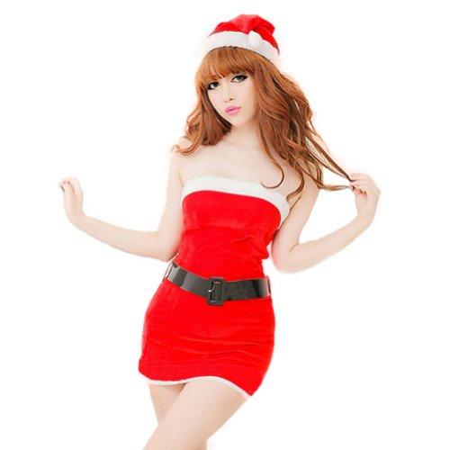 Zehui Womens Santa Claus Xmas Christmas Sleepwear Lingerie Dress Waistband Hat