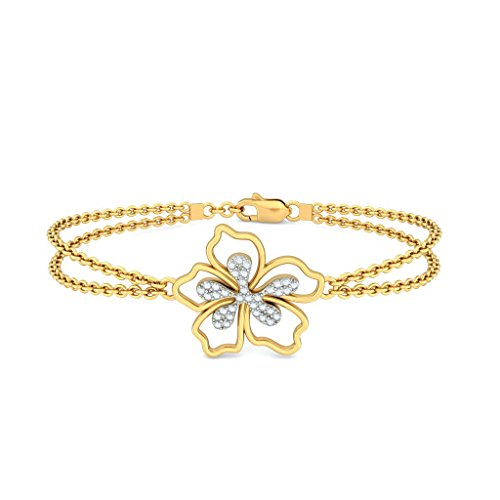 Or jaune 18 K, 0,175 CT TW Round-cut-diamond (Ij| SI) Identification-bracelets