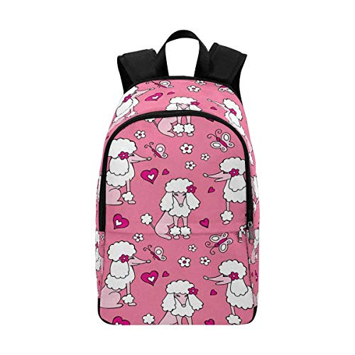 (InterestPrint Dog Poodle Gray Pink Casual Backpack Back to School Daypack)