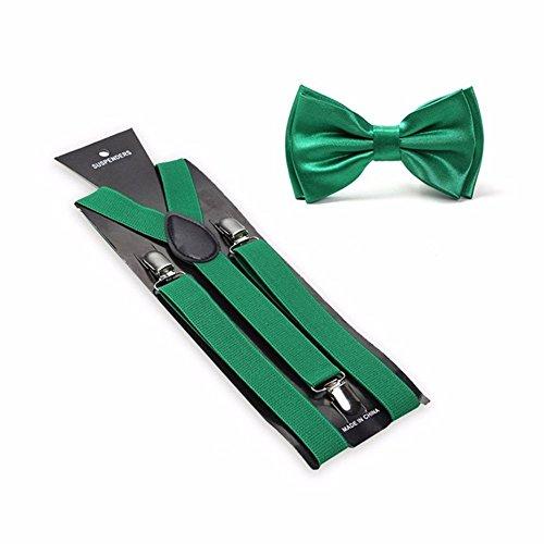 Men's Solid Color Pre-tied Adjustable Bowtie Y-Back Clip Suspenders Set for Wedding (Kelly Green)
