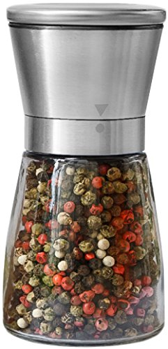 Pepper Grinder or Salt Shaker for Professional Chef - Best Spice Mill with Brushed Stainless Steel, Special Mark, Ceramic Blades and Adjustable Coarseness