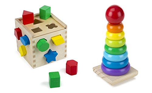 Melissa & Doug Shape Sorting Cube with Melissa & Doug Rainbow Stacker Wooden Ring Educational Toy, Classic set for Toddlers - Of Rainbow Shape