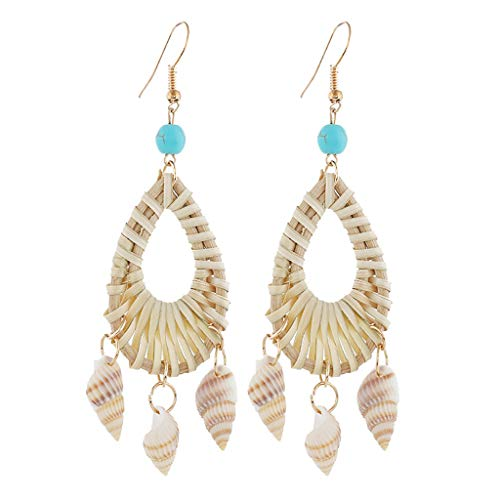 (Earrings for Girls,Mebamook Fashion Shell Earrings Pendant Ladies Earrings Simple Paragraph Beach Wind Simpl)