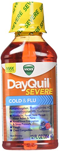 - Vicks Dayquil Severe Cold & Flu Relief Liquid, 12 oz (Pack of 2)
