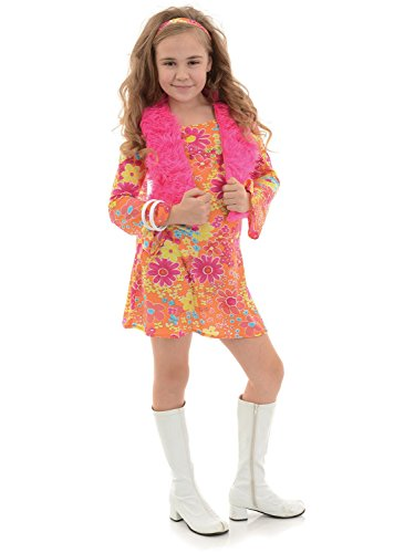 [Underwraps Big Girl's Underwraps Girl's Flower Power Costume - Large Childrens Costume, Multi, Large] (Fancy Dress Flower Power)