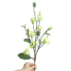 SANGQU 1Pcs Artificial Fake Flowers Leaf Magnolia Floral Real Touch Looking Plastic&Cloth Material Arrangement Bouquets Home Garden Decor Room Office Centerpiece Party Wedding Decor 3