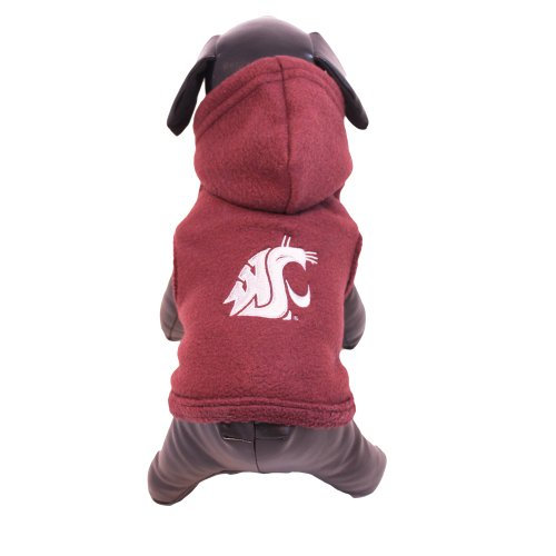 NCAA Washington State Cougars Polar Fleece Hooded Dog Jacket, ()