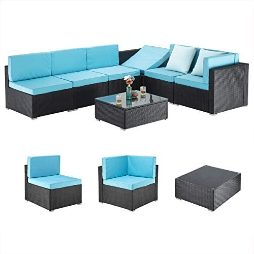 PAMAPIC 7 Pieces Patio Furniture,Outdoor Rattan Sectional Sofa Conversation Set