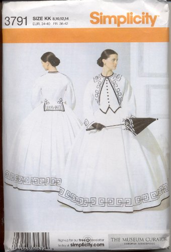 Civil War Dress Gown (Simplicity 3791 Sewing Pattern Womens Civil War Era Dress Gown Museum Curator Size 8 - 10 - 12 -)