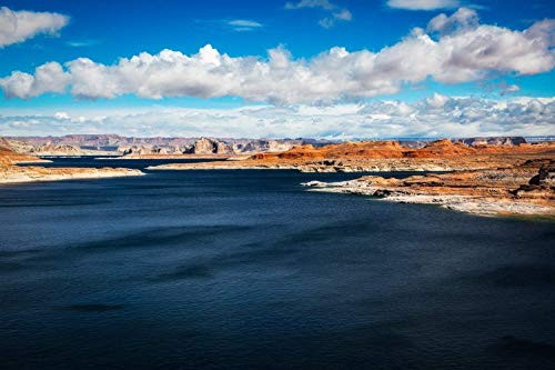 Southwest Photography Wall Art Print - Picture of Lake Powell and Desert Landscape Under Fair Sky in Northern Arizona Western Decor 5x7 to 40x60