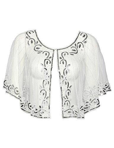 (Vintage 1920s Shawl Beaded Sequin Deco Evening Cape Shrug Bolero Flapper Cover Up (White Sliver))
