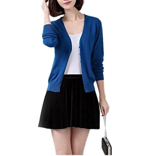 Tricot Col Winfon Gilet Femme Bleu Chandail Longue Casual V Cardigan Cardigans avec Boutons Manche Pull wvwXxU1arq