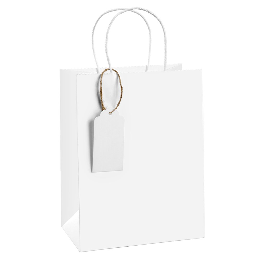 Gift Bags 8x4.75x10.5'' BagDream Kraft Shopping Bags with Gift Tags 50 Pcs, Paper Bags, Kraft Bags, Retail Bags, White Gift Bags with Handles, 100% Natural Unbleached Gift Bags Set