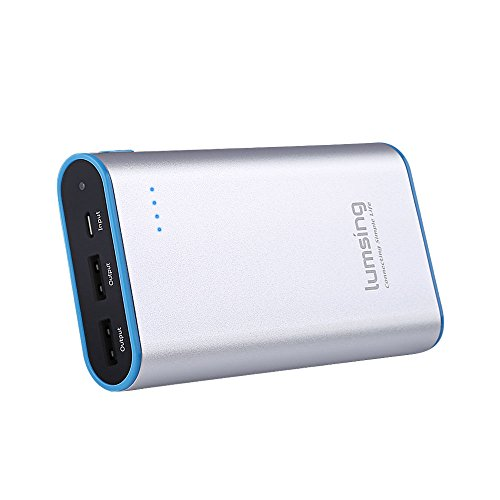 Lumsing Portable Charger 10050mAh Premium External Power Bank for SmartPhones Tablets(Silver)