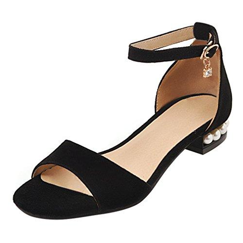YE Damen Flache Ankle Strap Sandalen mit Riemchen Bequem Schuhe Schwarz