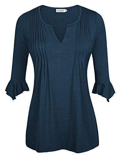 Ninedaily Women's 3/4 Sleeve V Neck Pleated Tunic Tops Blue XL ()