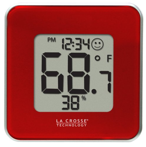 La Crosse TechnologyLa Crosse Technology 302-604R-TBP Red Indoor Digital Thermometer and Hygrometer Station