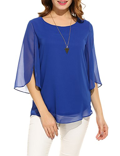 ACEVOG Women's Solid Loose Casual Cuffed 3/4 Sleeve Blouses (Blue L)