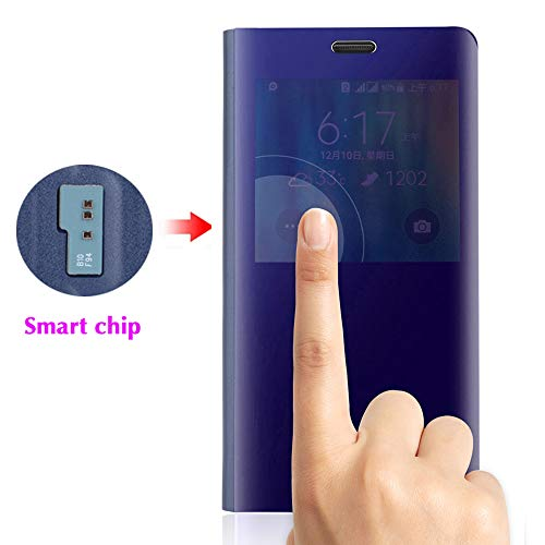 Asuwish Phone Case for Samsung Galaxy Note 4 Flip Folio Leather Cover with Screen Protector S Smart Chip Cell Accessories Shockproof Slim Hard Mirror Cute Clear View Glaxay Note4 N910A Women Girls Men