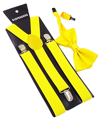 MENDENG Men's Yellow Braces for Trousers Polyester Suspenders with Bow Tie Set -