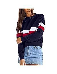 Amzeca Womens Sweatshirt Pullover Top Blouse Autumn Long Sleeve Hoodies Sweaters